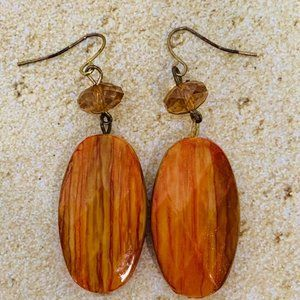 Vintage Orange Wood Pierced Earrings